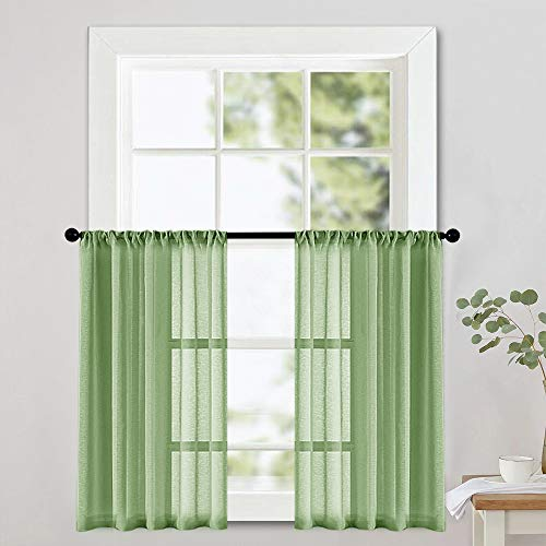 MRTREES Kitchen Tier Curtains 24 inch Length Sheer Cafe Curtains Light Filtering Short Bathroom Small Curtains Voile Curtain Sheers Rod Pocket 2 Panels Half Window Curtains Green ()