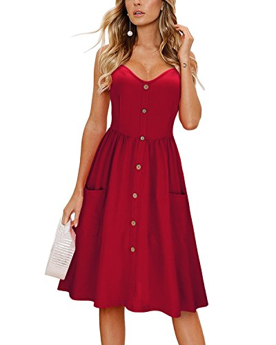 KILIG Women's Summer Dress Spaghetti Strap Button Down Sundress with Pockets(Wine,M)