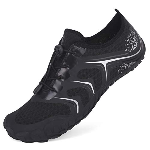 L-RUN Womens Water Shoes for Swimming Diving Breathable Black Women 8, Men 6.5 M US