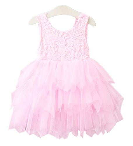 2Bunnies Girl Beaded Peony Lace Back A-Line Tiered Tutu Tulle Flower Girl Dress (All Pink Sleeveless, 24M/2T)