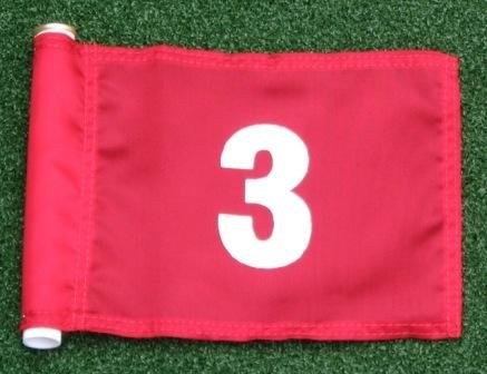 White Numbered #3 printed on a solid Red Jr. (8'' L x 6'' H) 400 Denier Pin Marker Flag For Golf & Putting Green Applications