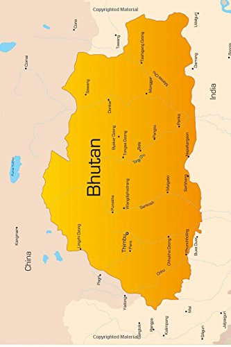 Map of Bhutan Journal: 150 page lined notebook/diary