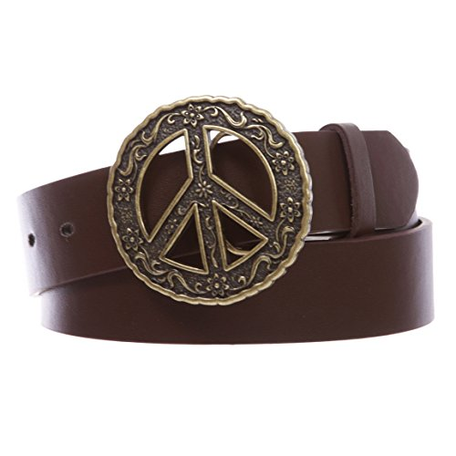 "1 1/2"" Snap On Belt With Round Perforated Floral Engraving Peace Sign Belt Buckle, Brown 