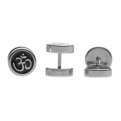 HOUSWEETY 316L Stainless Steel Round Om/Aum Sign Screw Back Barbell Stud Earrings 10mm-1pair by Housweety (Image #4)