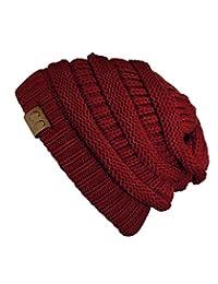 Trendy Warm Chunky Soft Stretch Cable Knit Beanie Skully, Burgundy