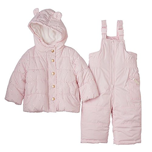 Carter's Baby Girls Two Piece Snowsuit-Light Pink With Gold (12M)