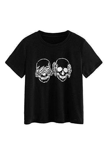 ROMWE Women's Short Sleeve Crop Top Casual Skull Graphic Print Tee Shirt Black (Skull Crop)