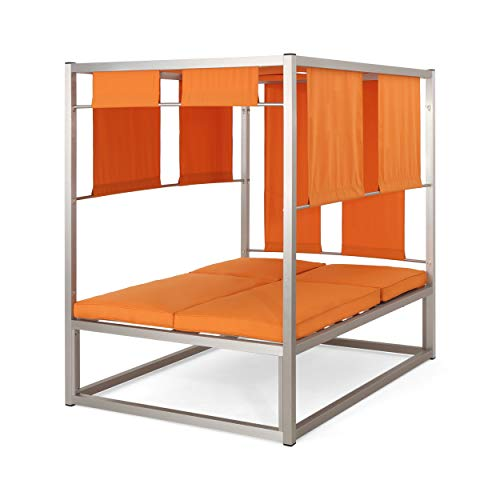 Great Deal Furniture 305807 Amos Outdoor Aluminum Daybed with Canopy, Silver and Orange