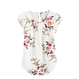 Milumia Women's Elegant Floral Print Petal Cap Sleeve Pleated Vacation Office Work Blouse Top