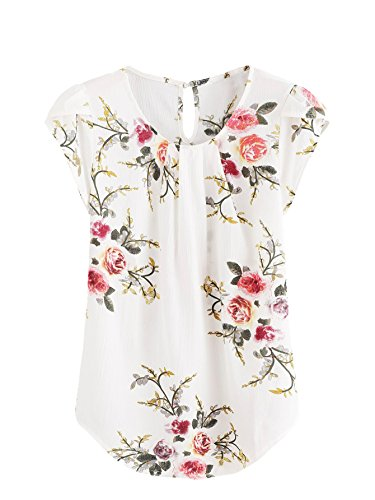 - Milumia Women's Print Summer Petal Sleeve Blouse Top X-Large Floral Beige