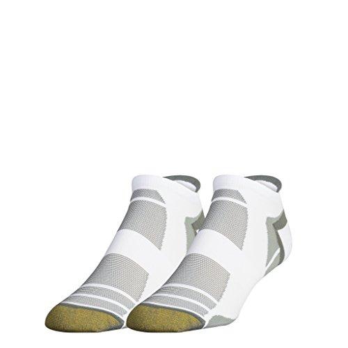 Gold Toe Men's Golf Accelerator No Show Socks, 2 Pairs, White/Grey, Shoe Size: ()