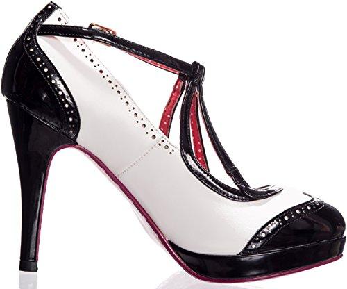 Dancing Days Damen Pumps Just One Look Brogue High Heels Schwarz / Weiß