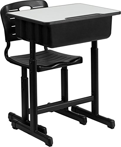 Flash Furniture Adjustable Height Student Desk and Chair with Black Pedestal Frame