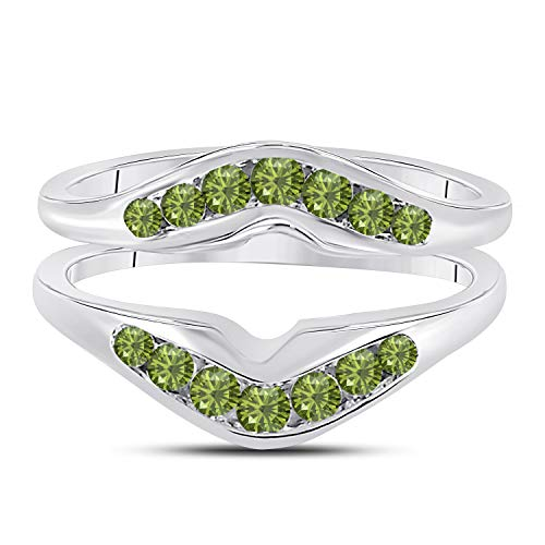(Jewelryhub 14k White Gold Over Sterling Silver Contour Shape Channel Set Enhancer Ring Guard with CZ Green Peridot (0.50 ct. tw.))