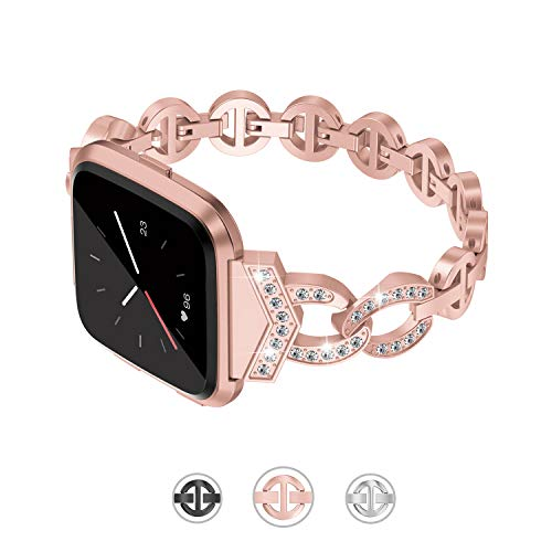TOYOUTHS Compatible Fitbit Versa Bands for Women Metal Strap Dressy Bracelet with Rhinestones Wristband Replacement for Fitbit Versa Lite Special Edition Accessories Rose Gold