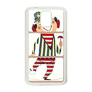 Samsung Galaxy S5 Cases Happy Doodle Land Clown, [White]