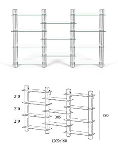 Spectral DVD11 DVD Shelving Unit With Round Saeulen In Aluminium Glass Clear Finish Stainless Steel Pedestal Amazoncouk Kitchen Home