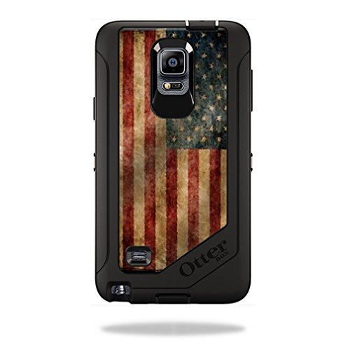 Mightyskins Protective Vinyl Skin Decal Cover for OtterBox Defender Galaxy Note 4 Case cover wrap sticker skins Vintage Flag