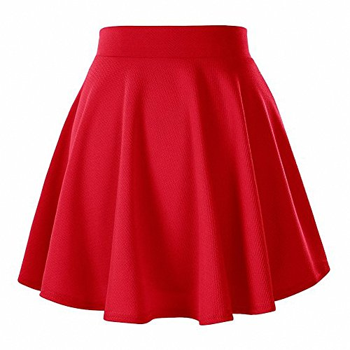 Afibi Girls Casual Mini Stretch Waist Flared Plain Pleated Skater Skirt (Medium, Red) -