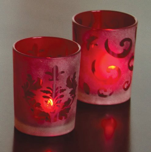 Red Frosted Glass Votive Holders