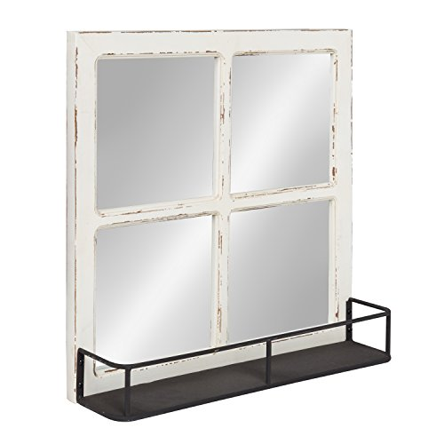 Kate and Laurel Jackson Distressed Wood Windowpane Mirror with Metal Shelf, White