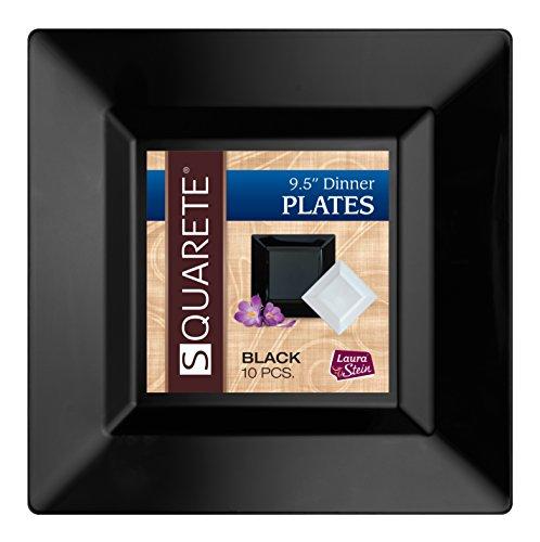 (Squarete 9.5'' inch Black Dinner Square Party Plates Hard Plastic Elegant Disposable 10 Square Dinner Plates Per Package Pack of 3)