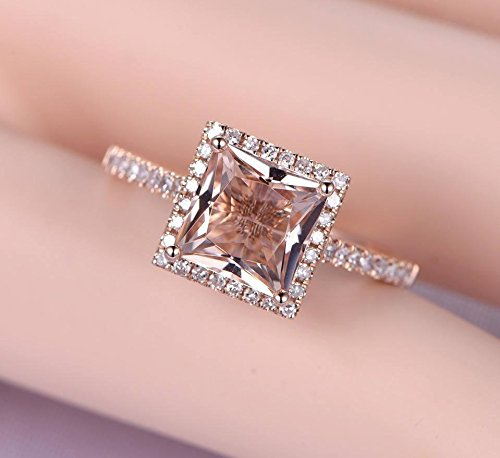 1.25 Carat Antique Design princess cut Morganite and Diamond Engagement Ring for Women In Rose Gold