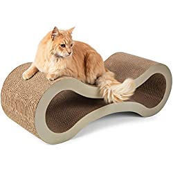Cat Scratcher Cardboard Scratching Post - Scratch Lounge Furniture Pad Lounger with Catnip Best For Small Medium or Large Cats Posts and Scratchers Board Pads Stand Indoor Toys Pet Supplies for Houses
