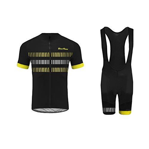 Uglyfrog Men Cycling Jersey Short Sleeve Quick-Dry Shirt and 3D Padded Shorts Set