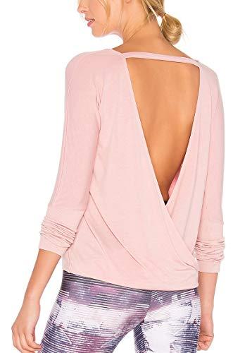 fc2186b9934d33 Bestisun Women s Open Back Crossover Blouses Long Sleeve Back Cut Out Top  Workout Casual Shirt