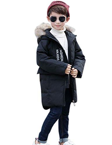 Menschwear Boy's Down Fur Hooded Jacket Winter Warm Outwear Winter Coat (130,Black) by Menschwear