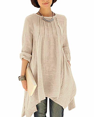 (Gikim Women's Plus Size Casual Long Sleeve Linen Cotton Irregular Dress with Pockets Beige L)