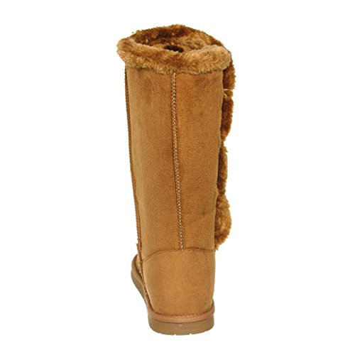 Shearling Microfiber shoewhatever Calf Fur Tan Warm Lined Boots Winter Womens Mid xP0wPt4