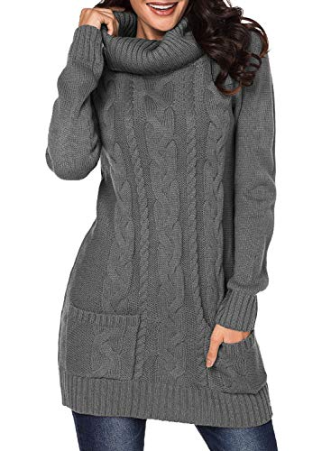 BLENCOT Juniors Womens Gray Cute Sweaters Turtleneck Twist Chunky Cable Knit Casual Jumper Pullover Tunic Sweaters Dress Large (Solid Cowl Neck Sweater)