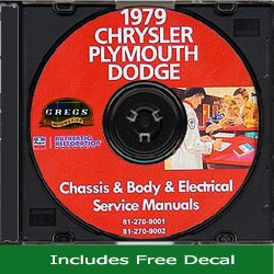 1979 Chrysler, Plymouth and Dodge Shop Service Repair Shop Manual CD (with Decal) 79 -