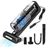 FOXNOVO 5500PA Car Vacuum Cleaner High Power Suction, DC 12V 100W Portable Vacuum Cleaner for Car with Led Light and Stainless Steel Filter Wet /Dry Handheld vacuum cleaner 9.8 ft Power Cord