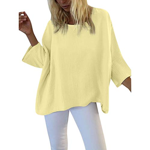 aihihe Women Solid Batwing Sleeve Long Sleeve Pullover Dolman Tunic Tops Round Neck Loose Casual Blouses(Yellow,XXL)]()