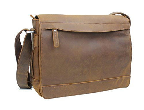 Vagabond Traveler 14'' Leather Messenger Laptop Bag L18. Vintage Brown by Vagabond Traveler