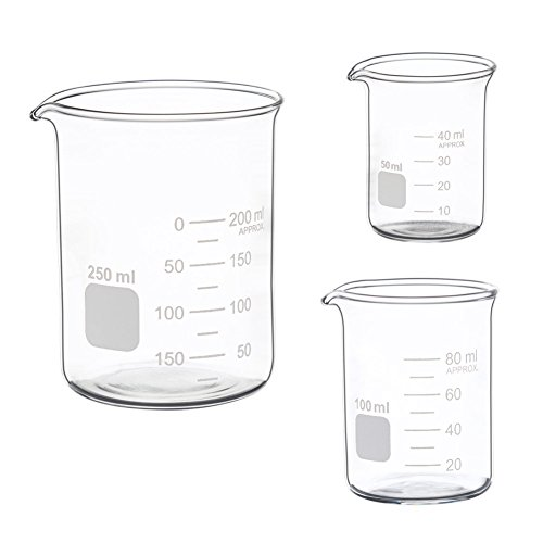 Glass Measuring Low Form Beaker Set 50ml 100ml 250ml Glass Graduated Beaker - 250 Glass Ml
