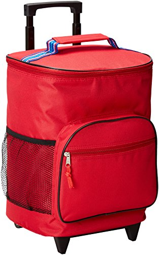 Home Essentials Rolling Insulated Cooler Red Bag W/Strip Ribbon W (Insulated Rolling Bag Cooler)