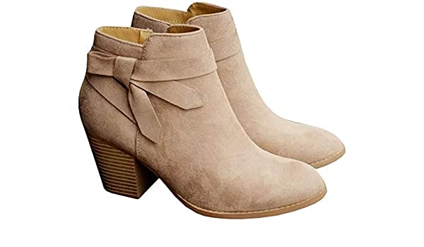 FISACE Womens Pointed Toe Stacked Mid Heel Ankle Boots V Cut Back Zipper Faux Leather Booties