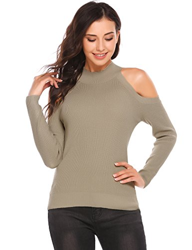 Zeagoo Women's High Neck Slim Fit Cold Shoulder Cable Knitted Sweater Pullover (Large, Pea Green (Cold Shoulder Turtleneck)