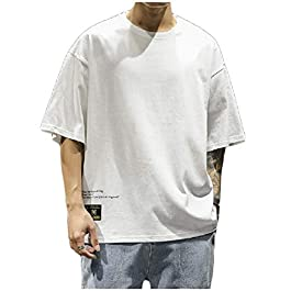 Men's Plus Size Loose Pullover Print Crew-Neck Short-Sleeve T-Shirt