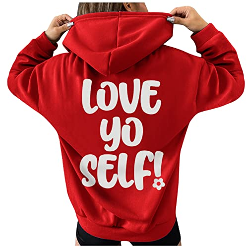 Women's Thick Blouse - Ladies Loose Casual Hoodies Alphabet Printed Long-Sleeved Pullover (Red-1,Small)