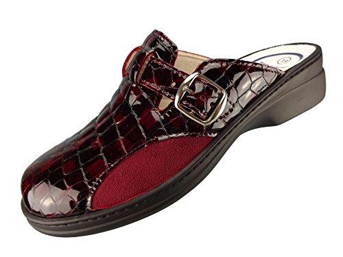 Algemare Damen Clog Lackleder Red Stretch mit waschbarem Sani-pur Wechselfußbett Pantolette 5925_5117 Sandalette, Größe:40