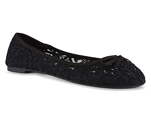 Twisted Womens SAGE Flower Crochet Ballet Flat with Bow - SAGE07 Black, Size 10