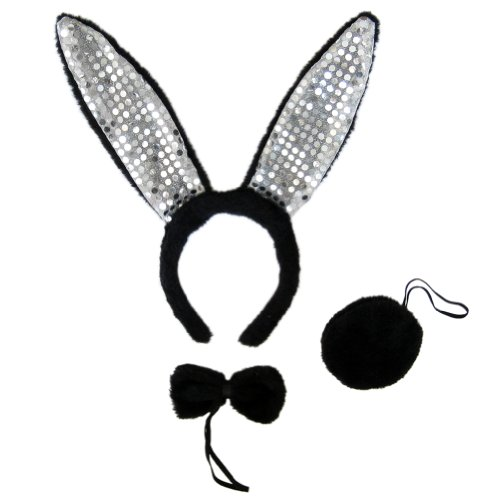 SeasonsTrading Black Plush Sequin Bunny Ears Costume Set ~ Halloween Rabbit Kit (Bunny Sequin)