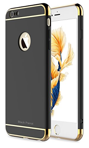 Black Skin Case (iPhone 6 Plus Case, Black Parrot 3 In 1 Ultra Thin and Slim Hard Case Coated Non Slip Matte Surface with Electroplate Frame for Apple iPhone 6 Plus(5.5') and iPhone 6S Plus(5.5') -- Black & Gold)