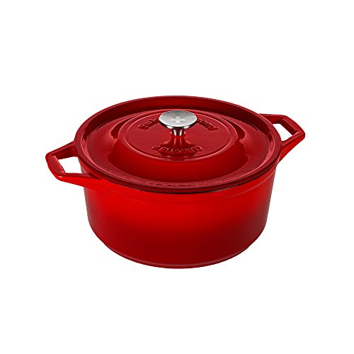 Swiss Diamond Enameled Cast Iron Round Casserole, 11 inch, Rubis Rouge