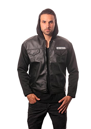 Sons Of Anarchy Road Gear Leather Jacket With Hood  Adult X Large